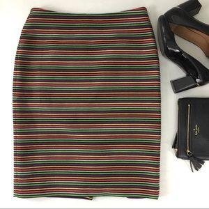 Talbots Pencil Skirt Colorful Stripe Pattern sz 2